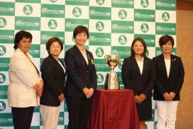 「日本女子プロゴルフ選手権大会コニカミノルタ杯 記者発表会」の画像