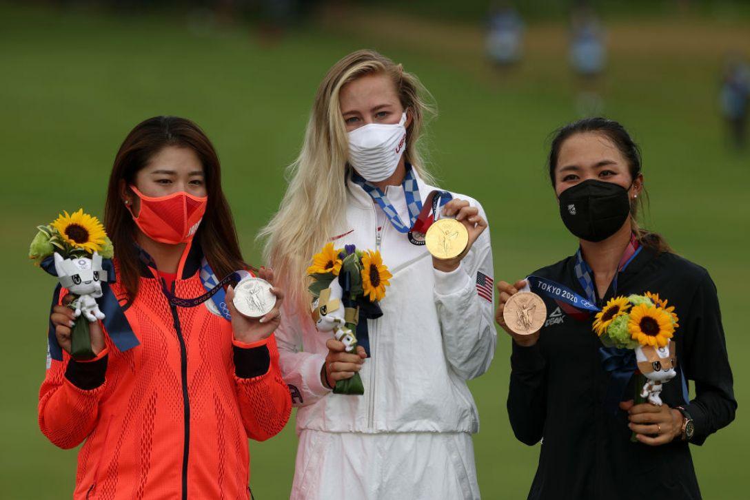東京2020オリンピック 最終日 稲見萌寧 ネリー・コルダ リディア・コ<Photo:Mike Ehrmann/Getty Images>